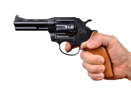 holding gun: Hand holding gun isolated on white background