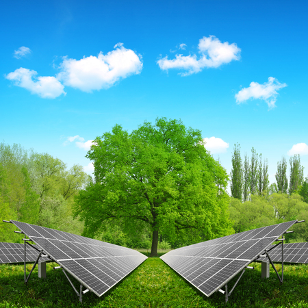 silicium: Solar energy panels on meadow. Clean energy. Stock Photo
