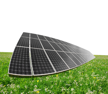 alternativ: Solar energy panels on meadow. Clean energy. Stock Photo