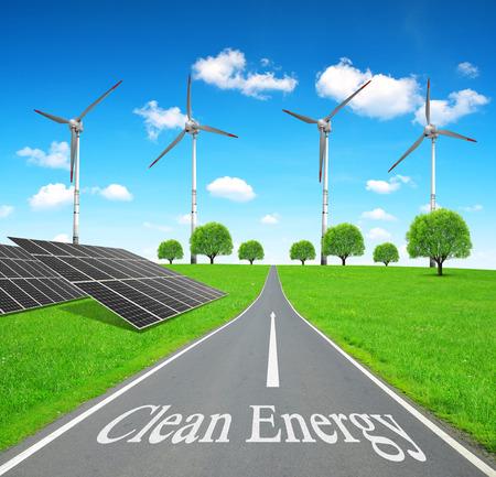 alternativ: Solar energy panels and wind turbines. Clean energy concept.