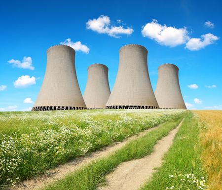 cooling towers: Cooling towers of a nuclear power plant. Stock Photo