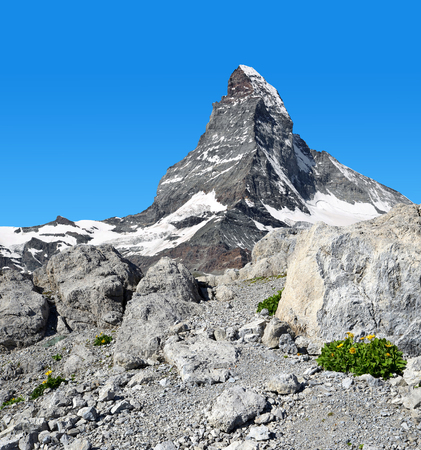 traditional climbing: Views of the mountain Matterhorn in Pennine Alps, Switzerland Stock Photo