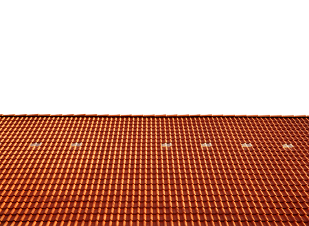 roofs: Roof house with tiled roof isolated on white background