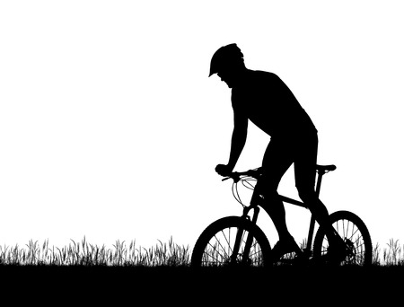 mtb: Silhouette of a cyclist on a mountain bike isolated on white background.