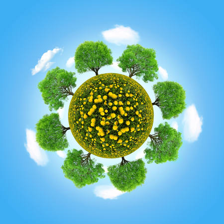 recluse: Eco planet with trees on blue sky Stock Photo