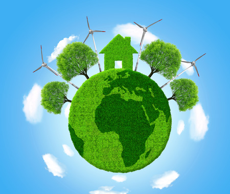 environment protection: Green eco planet on blue sky
