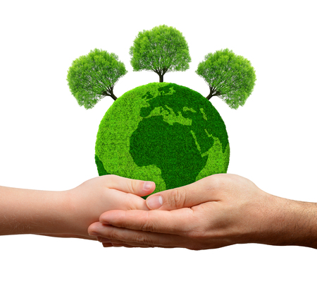 recluse: Green planet with trees in hands isolated on white background Stock Photo