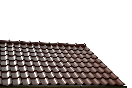 tiled: Roof house with tiled roof isolated on white background