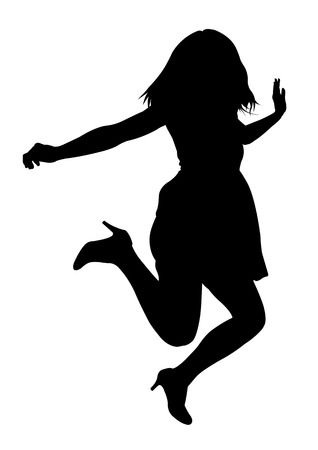 action girl: Jumping female silhouette isolated on white background Stock Photo