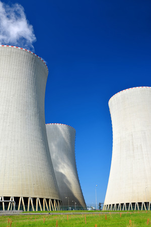 cooling towers: Cooling towers of nuclear power plant Temelin in Czech Republic Europe Stock Photo