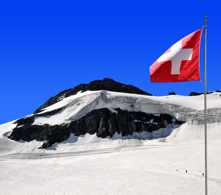 saas fee: Chessjen glacier above the ski resort of Saas Fee in Pennine Alps, Switzerland