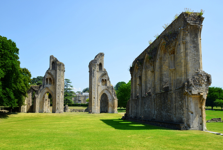 english west country: The historic ruins of Glastonbury Abbey in Somerset, England, United Kingdom Stock Photo