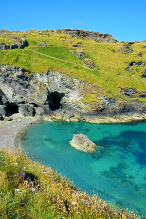 Merlins Cave - Tintagel bay North Cornwall coast,England,UK