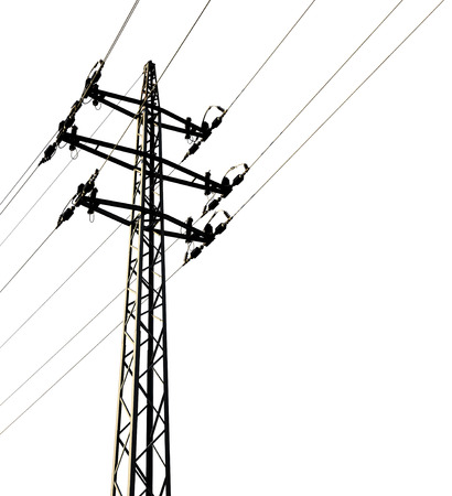 steel tower: High voltage tower isolated on white background Stock Photo