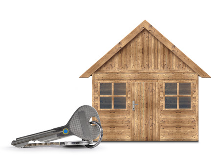keys isolated: Wooden house with keys isolated on a white background Stock Photo