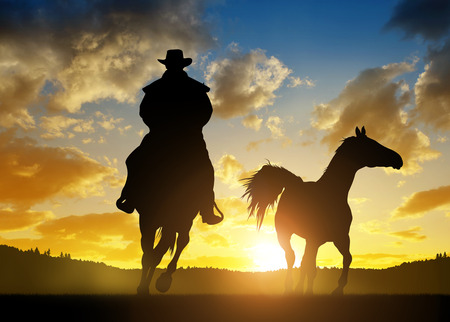 Silhouette cowboy with horse at sunset 스톡 콘텐츠
