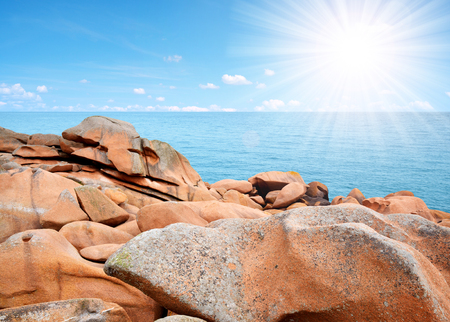 ploumanac'h: Ploumanach, Pink Granite Coast in Brittany, France Stock Photo