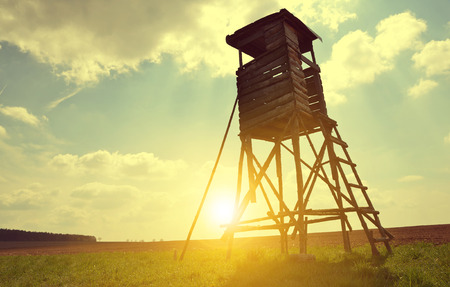 lookout: Lookout tower for hunting on meadow at setting sun.
