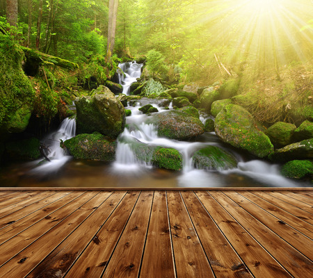 spruit: Beautiful waterfall with wooden planks Stock Photo