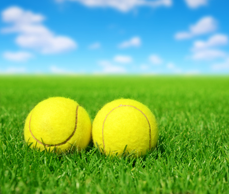 sky and grass: Two tennis balls in the green grass. Stock Photo