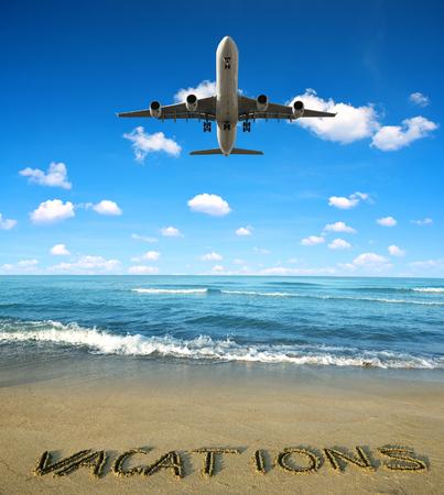 Landing an aircraft on a tropical island. Summer vacation concept.
