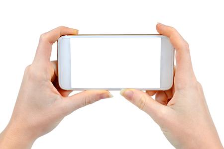 Zwei Frauenhände mobilen Smartphone, isoliert auf weiß Standard-Bild