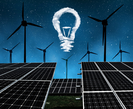 sustainable resources: Solar panels with wind turbines and lightbulbs from clouds in night . The concept of sustainable resources.