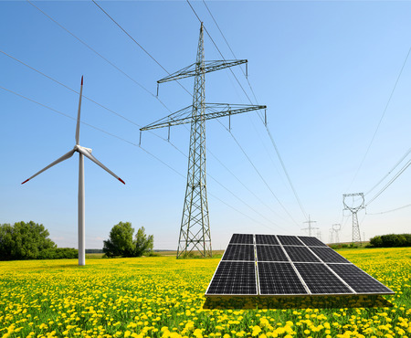 outdoor electricity: Solar panel with wind turbine and electricity pylons. Concept of sustainable resources.