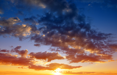 romance sky: Colorful sky with clouds at sunset. Nature background. Stock Photo
