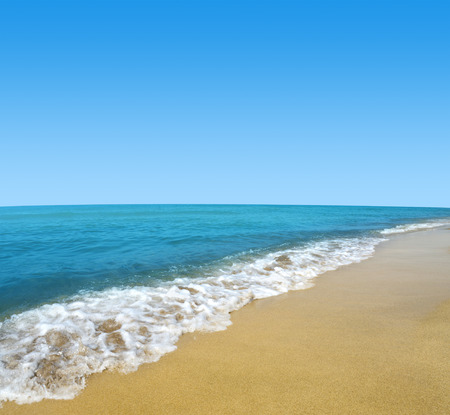 romance sky: Blue sea and sky with sandy beach. Stock Photo