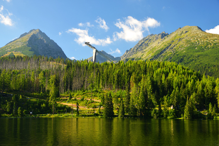 summer nature: Mountain lake Strbske pleso in National Park High Tatras, Slovakia, Europe