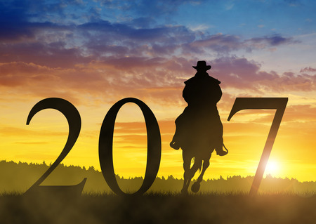 Silhouette of a cowboy riding a horse in the sunset. Forward to the New Year 2017 Stock Photo
