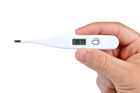 digital thermometer: Human hand holding electric digital thermometer on white background Stock Photo