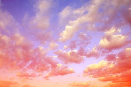 cielo de nubes: Colorful sky with clouds at sunset. Nature background. Foto de archivo