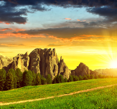 vajolet: Beautiful mountain landscape at sunset. Valle del Vajolet in Dolomites,Italien Alps Stock Photo