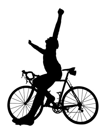 people in action: Silhouette of a cyclist on a road bike isolated on white background.