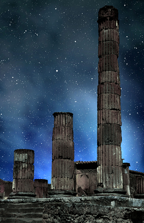 Ancient city of Pompeii in night, Italy. Roman town destroyed by Vesuvius volcano.