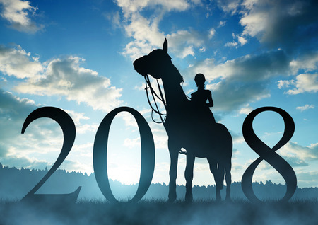 Silhouette of a woman on a horse at sunset. Forward to the New Year 2018. Stock Photo