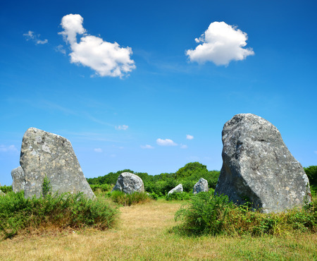 Megalithic monuments menhirs in Carnac - Brittany, France Stock Photo