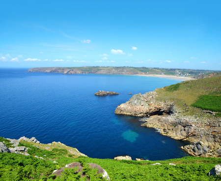Atlantic Ocean coast at Pointe du Van - Brittany, Northern France Stock Photo