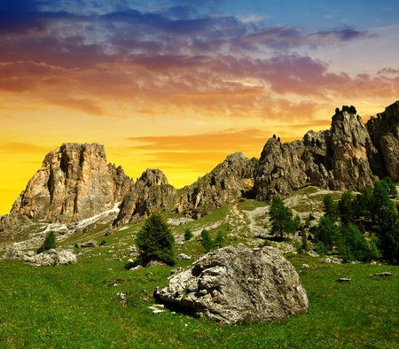 Beautiful mountain landscape at sunset. Valle del Vajolet in Dolomites,Italien Alps Stock Photo