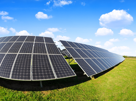 Solar power station. Photovoltaic panels generate clean energy.