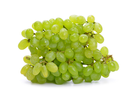Ripe green grapes isolated on a white background.