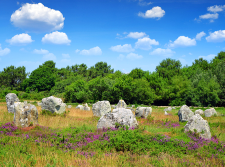 megaliths: Megalithic monuments menhirs in Carnac - Brittany, France Stock Photo