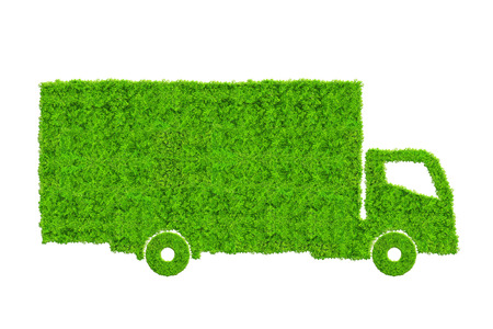 Green truck isolated on white background. Concept of ecology transport. Archivio Fotografico
