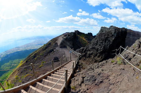Hiking trail on Vesuvius volcano. Campania region, Italy 스톡 콘텐츠