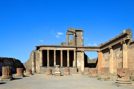 Ancient city of Pompeii, Italy. Roman town destroyed by Vesuvius volcano. 스톡 콘텐츠