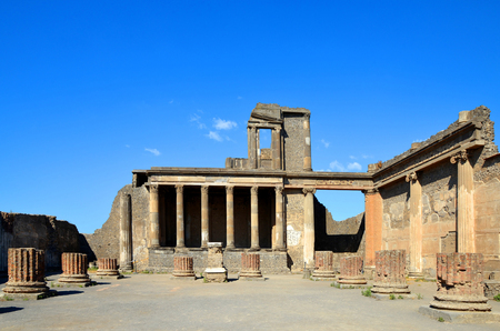 Ancient city of Pompeii, Italy. Roman town destroyed by Vesuvius volcano. Standard-Bild
