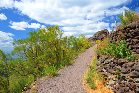Hiking trail on Vesuvius volcano. Campania region, Italy Stock Photo
