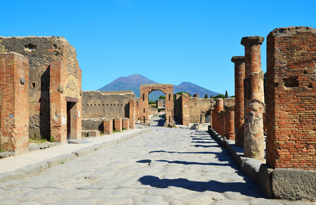 Ancient city of Pompeii, Italy. Roman town destroyed by Vesuvius volcano. Stock Photo